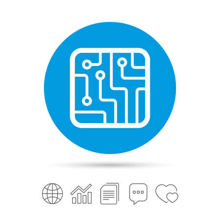 Circuit board sign icon. Technology scheme square symbol. Copy files, chat speech bubble and chart web icons. Vector Illustration