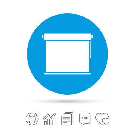 Louvers rolls sign icon. Window blinds or jalousie symbol. Copy files, chat speech bubble and chart web icons. Vector
