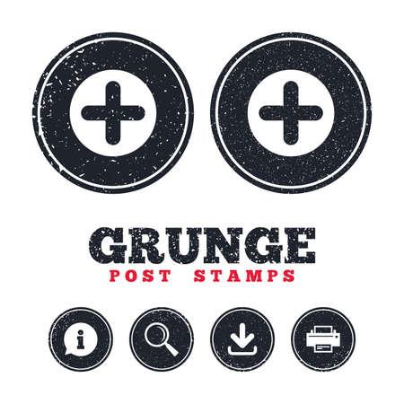 Grunge postzegels. Plustekenpictogram. Positief symbool. Zoom in. Informatie, download en printerborden. Leeftijd textuur web knoppen. Vector