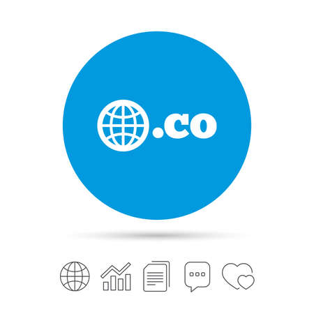 Domain CO sign icon. Top-level internet domain symbol with globe. Copy files, chat speech bubble and chart web icons. Vector Ilustração