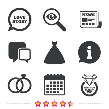 investigating: Wedding dress icon. Bride and groom rings symbol. Wedding or engagement day ring with diamond sign. Will you marry me? Newspaper, information and calendar icons. Investigate magnifier, chat symbol Illustration