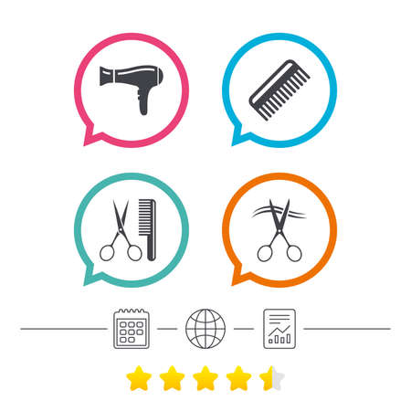 Hairdresser icons. Scissors cut hair symbol. Comb hair with hairdryer sign. Calendar, internet globe and report linear icons. Star vote ranking. Vector Illusztráció