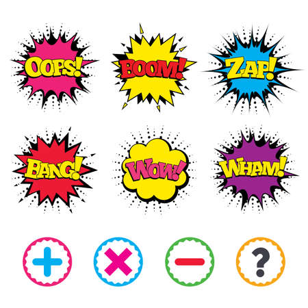Comic Wow, Oops, Boom and Wham sound effects. Plus and minus icons. Delete and question FAQ mark signs. Enlarge zoom symbol. Zap speech bubbles in pop art. Vector