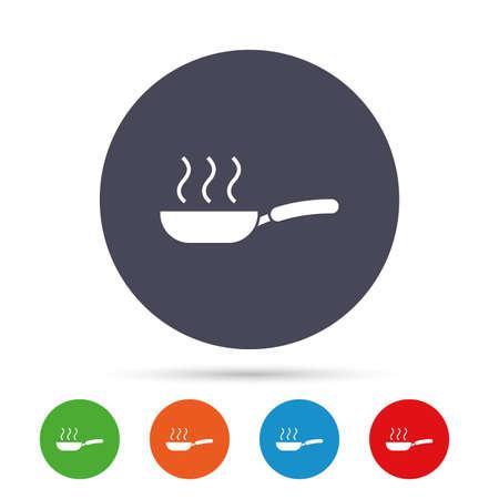 Bratpfanne Zeichen Symbol. Braten Sie oder braten Sie Nahrungsmittelsymbol. Runde bunte Knöpfe mit flachen Ikonen. Vektor Vektorgrafik