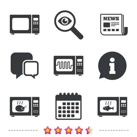 Microwave oven icons. Cook in electric stove symbols. Grill chicken and fish signs. Newspaper, information and calendar icons. Investigate magnifier, chat symbol. Vector