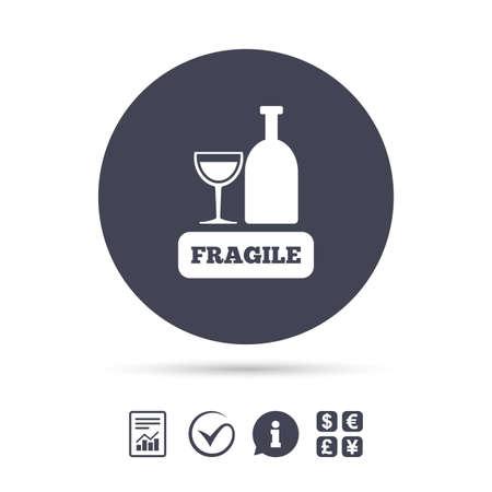 Fragile Paket Zeichen Symbol. Empfindliches Paket-Lieferungssymbol. Melden Sie Dokument, Informationen und Häkchen. Geldwechsel. Vektor