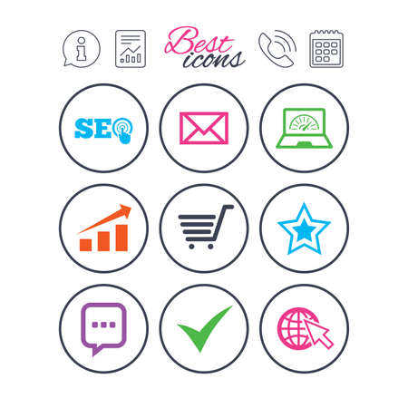 Information, report and calendar signs. Internet, seo icons. Tick, online shopping and chart signs. Bandwidth, mobile device and chat symbols. Phone call symbol. Classic simple flat web icons. Vector Ilustração