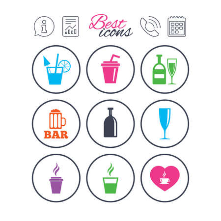 goblet: Information, report and calendar signs. Beer, coffee and tea icons. Beer, wine and cocktail signs. Soft and alcohol drinks symbols. Phone call symbol. Classic simple flat web icons. Vector