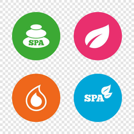 Spa stones icons. Water drop with leaf symbols. Natural tear sign. Round buttons on transparent background. Vector