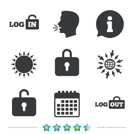 Login and Logout icons. Sign in or Sign out symbols. Lock icon. Information, go to web and calendar icons. Sun and loud speak symbol. Vector