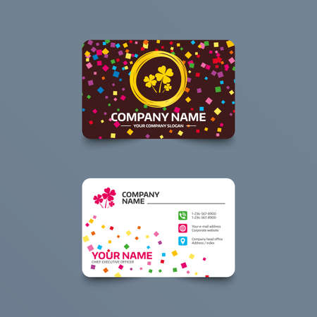 Business card template with confetti pieces. Clovers with four leaves sign icon. Saint Patrick symbol. Phone, web and location icons. Visiting card  Vector Illustration