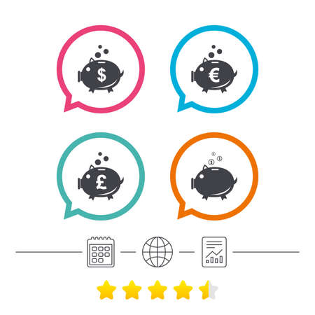 usd: Piggy bank icons. Dollar, Euro and Pound moneybox signs. Cash coin money symbols. Calendar, internet globe and report linear icons. Star vote ranking. Vector