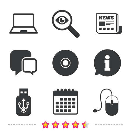 Notebook pc and Usb flash drive stick icons. Computer mouse and CD or DVD sign symbols. Newspaper, information and calendar icons. Investigate magnifier, chat symbol. Vector