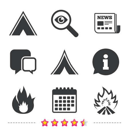 investigating: Tourist camping tent icons. Fire flame sign symbols. Newspaper, information and calendar icons. Investigate magnifier, chat symbol. Vector