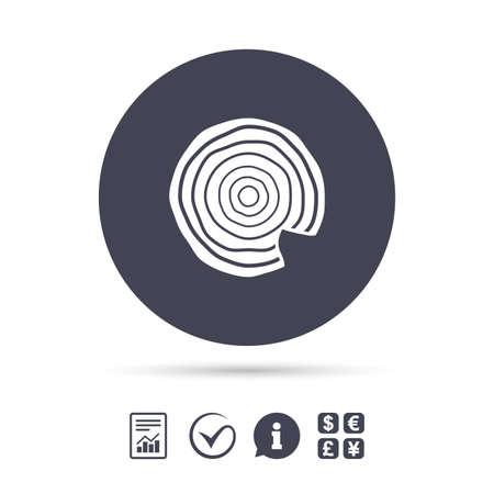 Icono de madera de signo. Anillos de crecimiento de los árboles. Corte transversal del tronco de un árbol con nick. Informe el documento, la información y marque los iconos de tick. Cambio de divisas. Vector Foto de archivo - 80345220