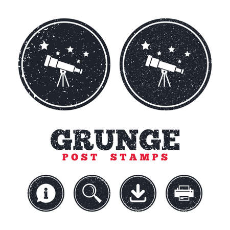 Grunge post stamps. Telescope with stars icon. Spyglass tool symbol. Information, download and printer signs. Aged texture web buttons. Vector Illustration