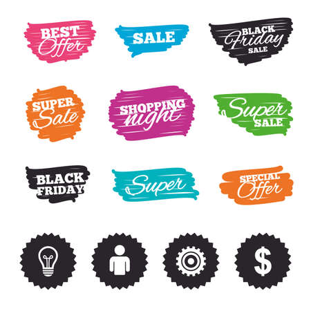 usd: Ink brush sale banners and stripes. Business icons. Human silhouette and lamp bulb idea signs. Dollar currency and gear symbols. Special offer. Ink stroke. Vector Illustration