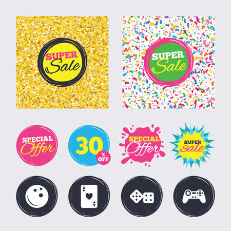 playing video game: Gold glitter and confetti backgrounds. Covers, posters and flyers design. Bowling and Casino icons. Video game joystick and playing card with dice symbols. Entertainment signs. Sale banners. Vector
