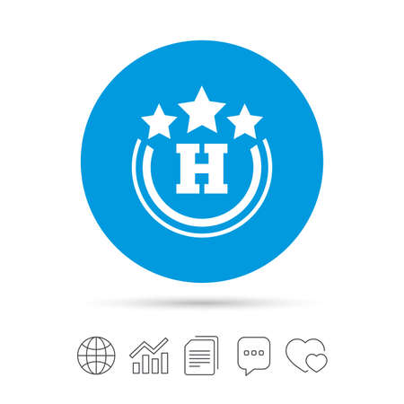 travel star: Three star Hotel apartment sign icon. Travel rest place symbol. Copy files, chat speech bubble and chart web icons. Vector Illustration
