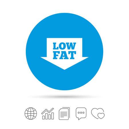 低脂肪署名アイコン。矢印と塩、砂糖食品のシンボル。ファイルのコピー、音声バブルとグラフ web アイコンをチャットします。ベクトル