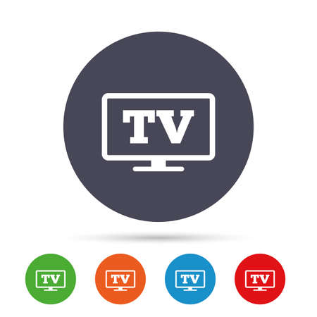 Widescreen TV sign icon. Television set symbol. Round colourful buttons with flat icons. Vector Illusztráció