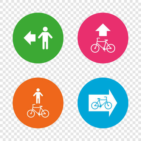 Pedestrian road icon. Bicycle path trail sign. Cycle path. Arrow symbol. Round buttons on transparent background. Vector