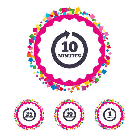 Web buttons with confetti pieces. Every 10, 25, 30 minutes and 1 hour icons. Full rotation arrow symbols. Iterative process signs. Bright stylish design. Vector Illustration