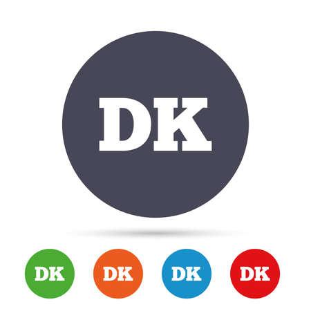 Denemarken taalpictogram teken. DK-vertaalsymbool. Ronde kleurrijke knoppen met plat pictogrammen. Vector