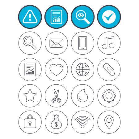 Informe, marque la señal y los signos de atención. Iconos universales Teléfono inteligente, correo y nota musical. Corazón, globo y símbolos compartidos. Paperclip, tijeras y gota de agua. Investigue el símbolo de la lupa. Vector Foto de archivo - 80345364
