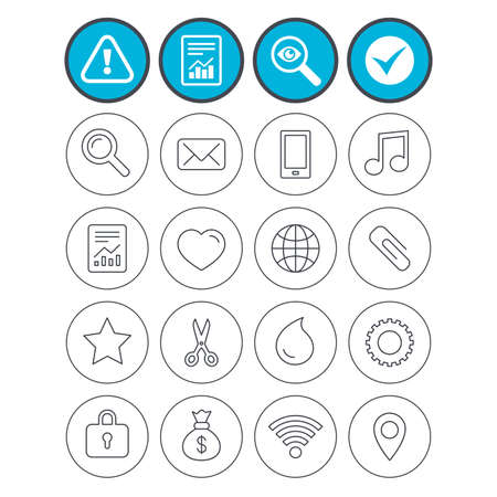 Report, check tick and attention signs. Universal icons. Smartphone, mail and musical note. Heart, globe and share symbols. Paperclip, scissors and water drop. Investigate magnifier symbol. Vector