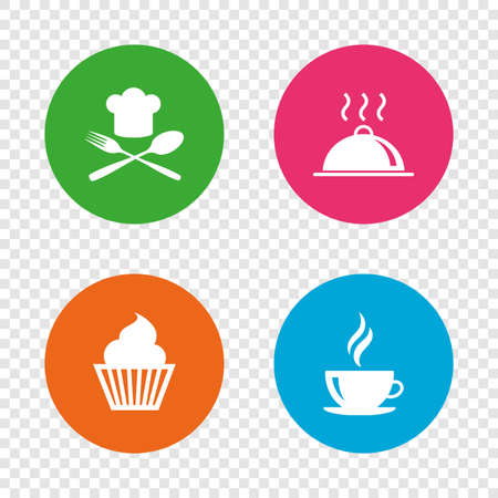 Icônes de nourriture et de boisson. Symbole de cupcake muffin. Fourchette et cuillère avec signe de chapeau de chef. Tasse à café chaude. Portion de plat de nourriture. Boutons ronds sur fond transparent. Vecteur Banque d'images - 80345370