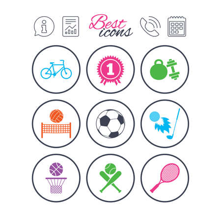 Information, report and calendar signs. Sport games, fitness icons. Football, basketball and tennis signs. Golf, bike and winner medal symbols. Phone call symbol. Classic simple flat web icons. Vector