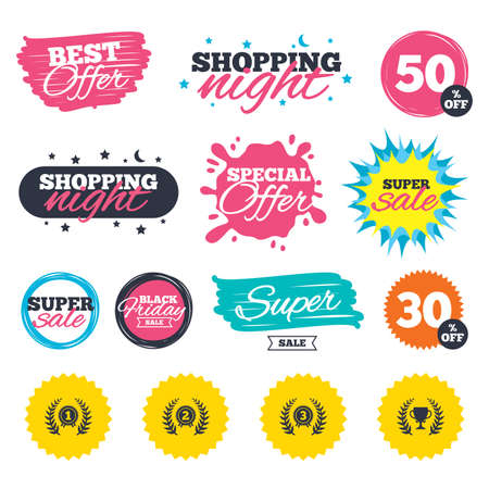 star award: Sale shopping banners. Special offer splash. Laurel wreath award icons. Prize cup for winner signs. First, second and third place medals symbols. Web badges and stickers. Best offer. Vector Illustration