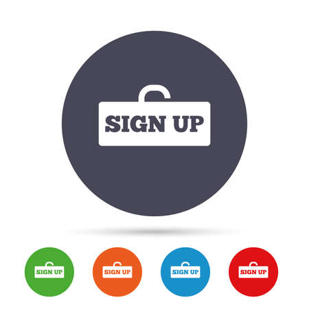 Sign up sign icon. Registration symbol. Lock icon. Round colourful buttons with flat icons. Vector