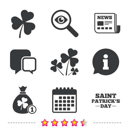 Saint Patrick day icons. Money bag with clover and coin sign. Trefoil shamrock clover. Symbol of good luck. Newspaper, information and calendar icons. Investigate magnifier, chat symbol. Vector