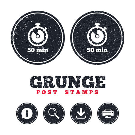 Grunge post stamps. Timer sign icon. 50 minutes stopwatch symbol. Information, download and printer signs. Aged texture web buttons. Vector