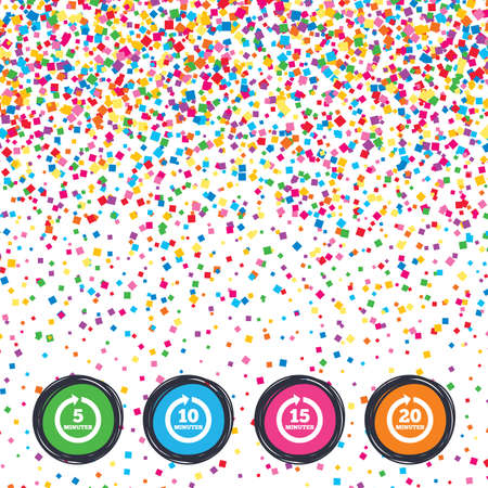 Web buttons on background of confetti. Every 5, 10, 15 and 20 minutes icons. Full rotation arrow symbols. Iterative process signs. Bright stylish design. Vector Illustration