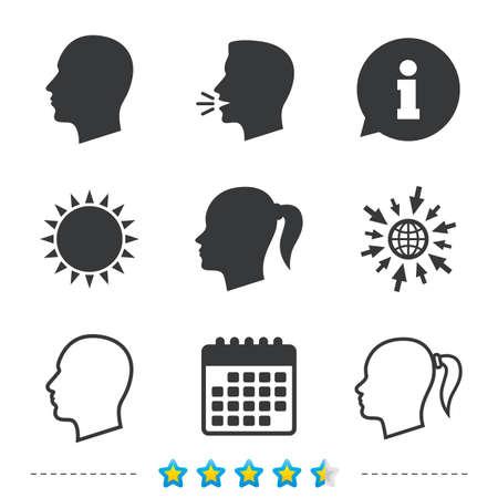 頭のアイコン。男性と女性の人間のシンボル。ピグテールの兆候を持つ女性。については、web とカレンダーのアイコンに移動します。太陽し、シン  イラスト・ベクター素材