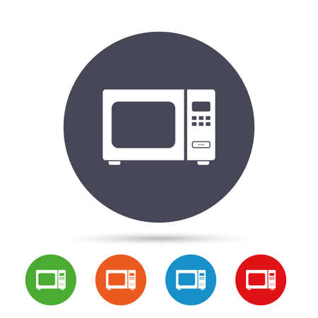 Microwave oven sign icon. Kitchen electric stove symbol. Round colourful buttons with flat icons. Vector
