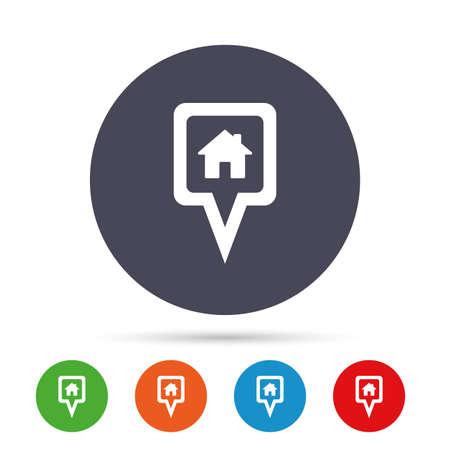 Map pointer house sign icon. Home location marker symbol. Round colourful buttons with flat icons. Vector 向量圖像