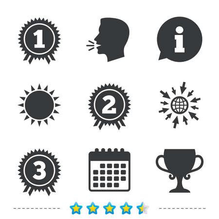 star award: First, second and third place icons. Award medals sign symbols. Prize cup for winner. Information, go to web and calendar icons. Sun and loud speak symbol. Vector