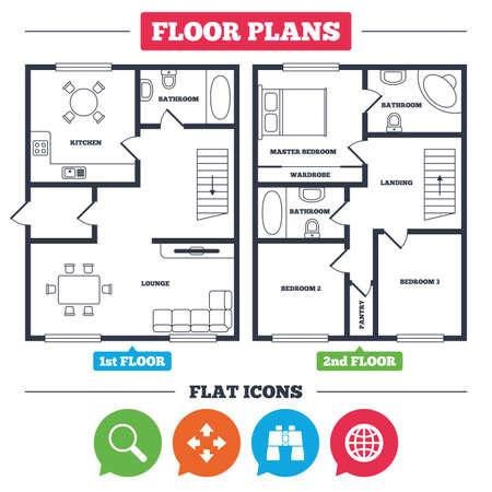 Architectuurplan met meubilair. Huis plattegrond. Vergrootglas en wereldbol zoekpictogrammen. Fullscreen pijlen en binoculaire zoeksymbolen. Keuken, woonkamer en badkamer. Vector