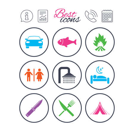 Information, report and calendar signs. Hiking travel icons. Camping, shower and wc toilet signs. Tourist tent, fork and knife symbols. Phone call symbol. Classic simple flat web icons. Vector Illustration