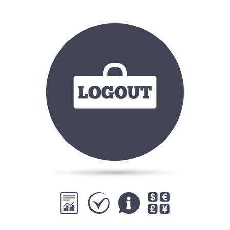 Logout sign icon. Sign out symbol. Lock icon. Report document, information and check tick icons. Currency exchange. Vector
