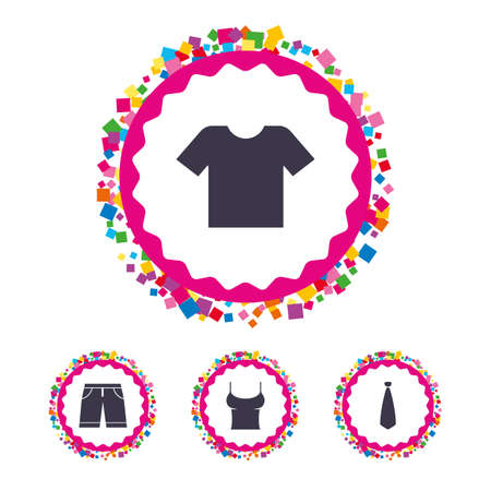 Web buttons with confetti pieces. Clothes icons. T-shirt and bermuda shorts signs. Business tie symbol. Bright stylish design. Vector Stock Vector - 80345478