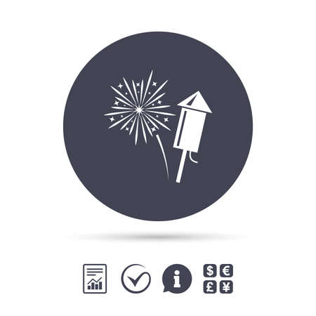 Fireworks with rocket sign icon. Explosive pyrotechnic symbol. Report document, information and check tick icons. Currency exchange. Vector