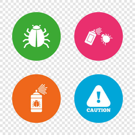 disinfection: Bug disinfection icons. Caution attention symbol. Insect fumigation spray sign. Round buttons on transparent background. Vector