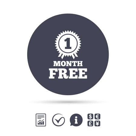 Eerste maand gratis medaille met lintpictogram teken. Speciale aanbieding symbool. Rapporteer document, informatie en vink pictogrammen aan. Wisselkantoor. Vector Stock Illustratie