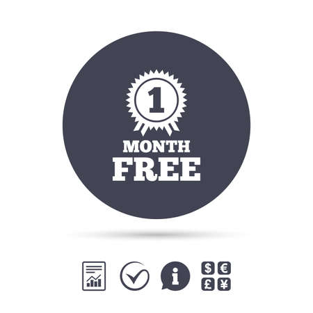 First month free medal with ribbon sign icon. Special offer symbol. Report document, information and check tick icons. Currency exchange. Vector