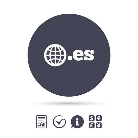 Domain ES sign icon. Top-level internet domain symbol with globe. Report document, information and check tick icons. Currency exchange. Vector